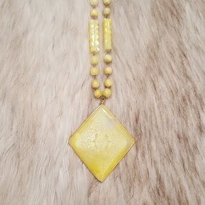 Vintage Yellow Jade Sun Necklace